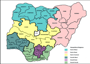 6 geopolitical zones in Nigeria, their States, and their economic activities
