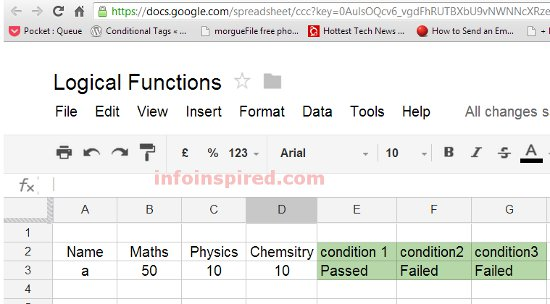 Combined Use of IF, AND, OR Logical Functions in Google Doc Spreadsheet