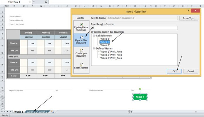 Create a clickable next button in Microsoft Excel