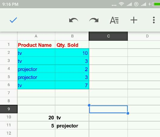 SUMIF example in Google Sheets