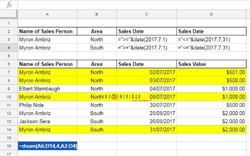 Date Difference As Criteria in DSUM