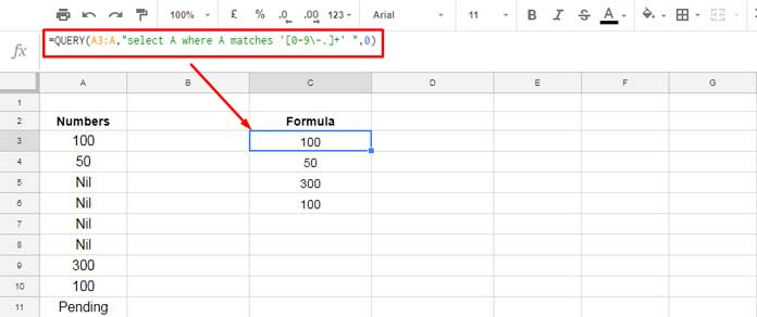 Google Sheets Query to Filter Numbers Only From Mixed Data Column