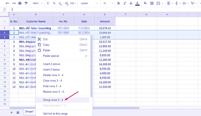 How to Group Rows and Columns in Google Sheets