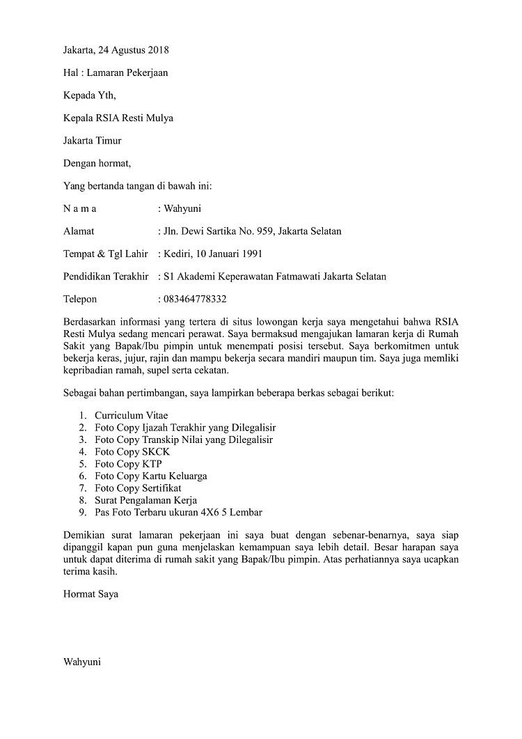 contoh surat lamaran kerja perawat di rumah sakit yang baik dan benar info kerjakuu