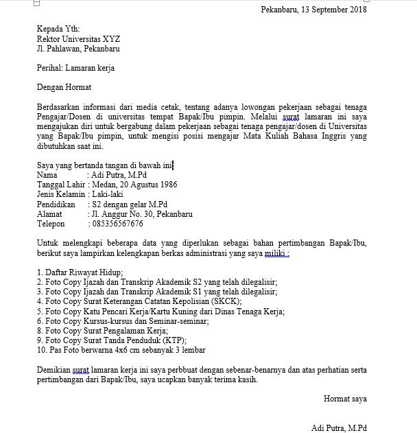 Contoh Surat Lamaran Kerja Dosen Indonesia Dan Inggris Info
