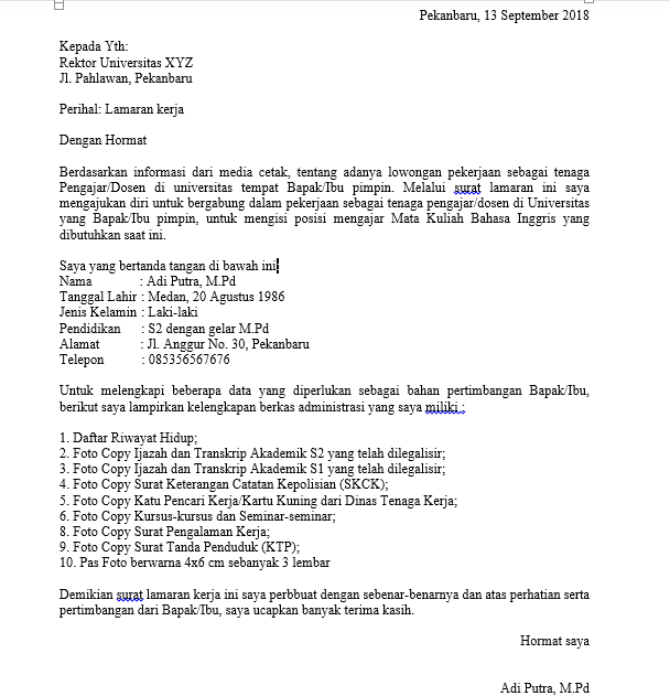 Contoh Surat Lamaran Kerja Dosen Indonesia Dan Inggris Info Kerjakuu