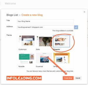 Choosing name and address for your blog