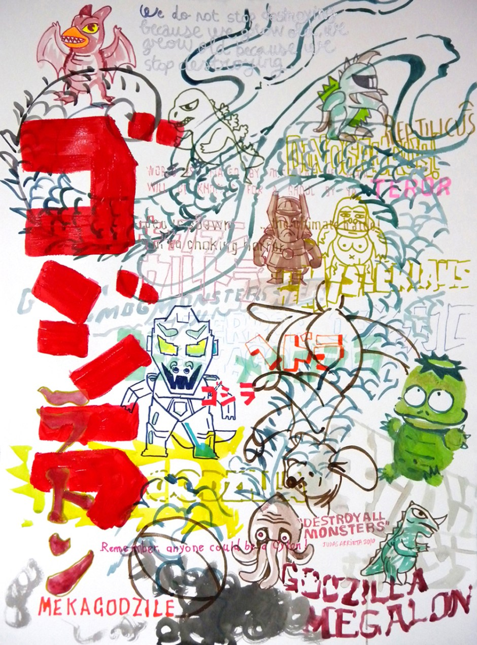 29 GODZILLA CONTRA TODOS 77X57CM MIXED MEDIA ON PAPER 1200EURO