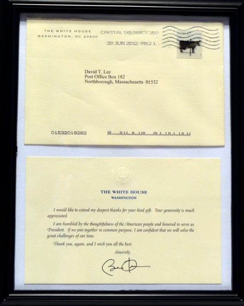 Signed note from President Barack Obama