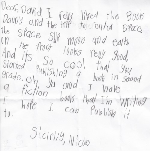 Letter from Nicole (Danny and the Trip to Outer Space)