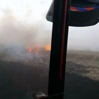 Totoras: se incendió una cosechadora mientras trillaba en un campo