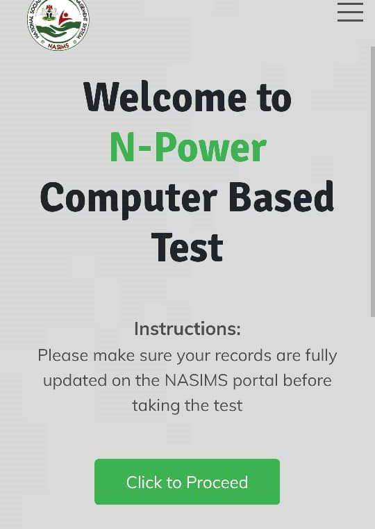 N-Power Batch C Computer Based Test, Use This Link To Write Your CBT