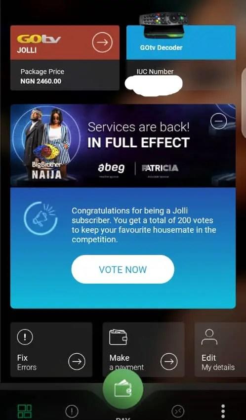 bbnaija voting on dstv and gotv app