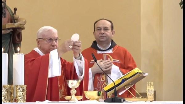 Hoy, Domingo de Pentecostés, Mons. Luigi Pezzuto celebró la misa en Medjugorje a nombre del Papa