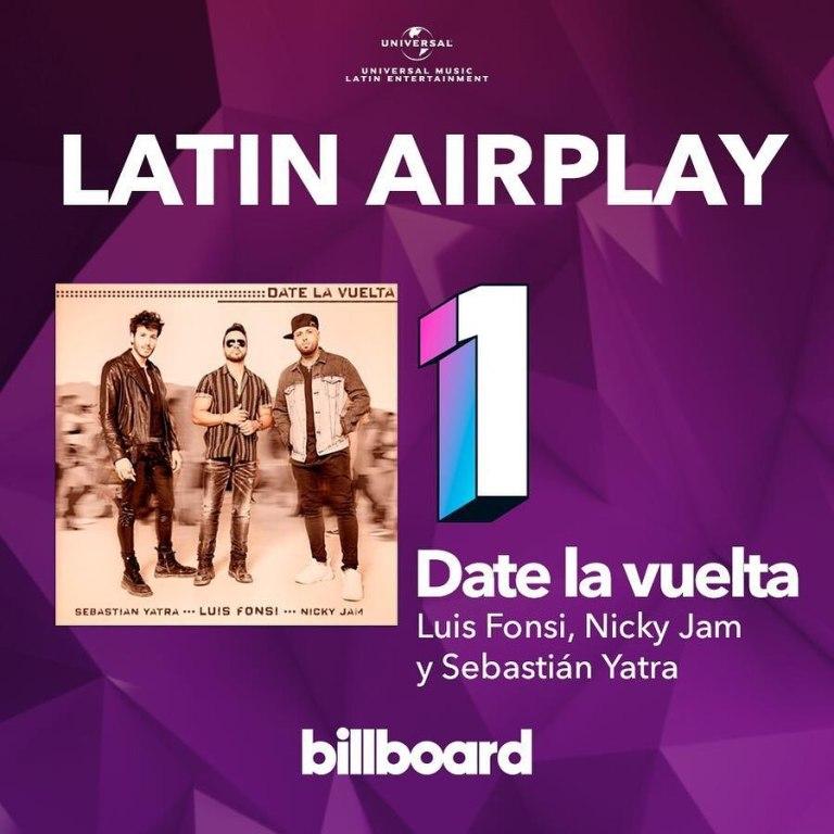"""""""Date La Vuelta"""", de Luis Fonsi, Nicky Jam y Sebastián Yatra, #1 en Estados Unidos y Puerto Rico"""