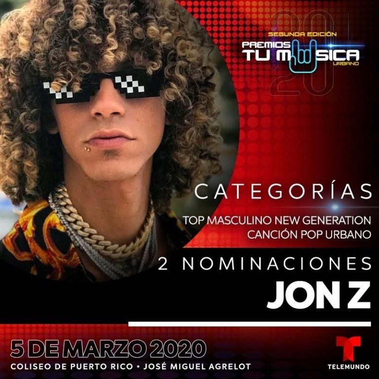 Jon Z recibe 2 nominaciones en Premios Tu Música Urbano 2020