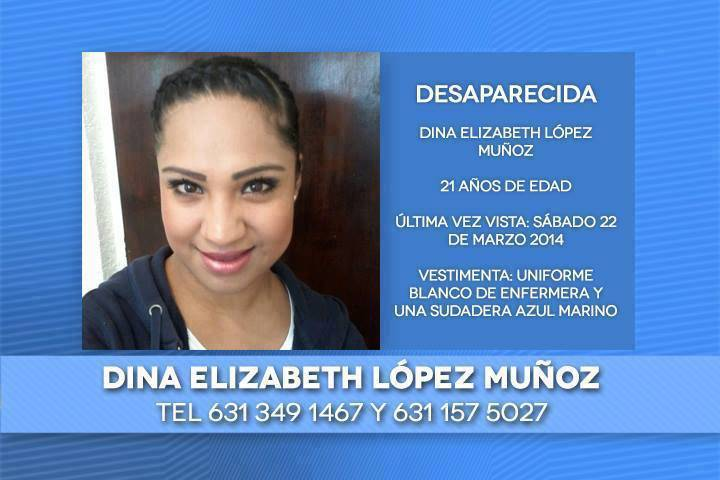 Volante con información de Dina Elizabeth.