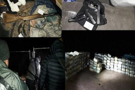 Aseguran agentes de la AIC más de una tonelada de droga, armamento y vehículos, en la colonia la Bellavista