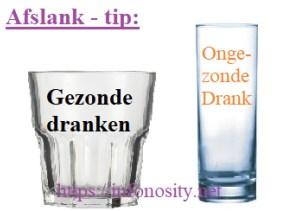 Afslanken tip. Vermageren zonder moeite. Gebruik smalle hoge glazen voor ongezonde drank. En brede lage glazen voor gezonde drank. Copyright (c) htpps://infonosity.net Bruno Stroobandt.