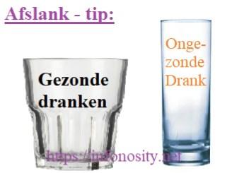 Afslanken tip. Vermageren zonder moeite. Gebruik smalle hoge glazen voor ongezonde drank. En brede lage glazen voor gezonde drank. - hoe afvallen tips Copyright (c) htpps://infonosity.net Bruno Stroobandt.