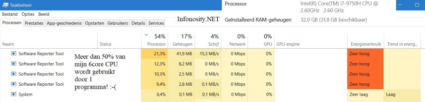 Software reporter tool - high CPU usage - hoog cpu gebruik - multiple instances