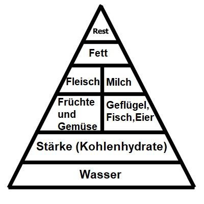 gesundes Abnehmen: Ernährungspyramide Nahrungsdreieck.  Essen abnehmen.