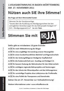 Volksabstimmung  10 Gruende - JA zum Ausstieg aus Stuttgart 21