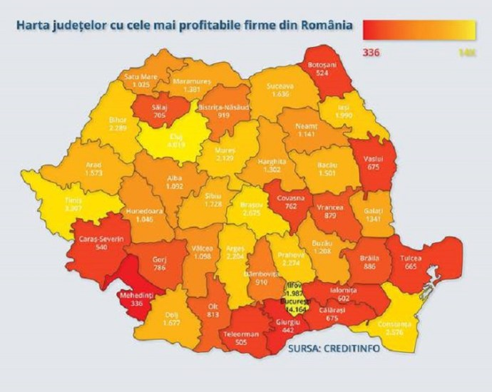 Bihorul pe locul 6 din tara, dupa numarul de firme profitabile, in contextul in care Romania a avut cea mai rapida crestere economica din UE, in 2016