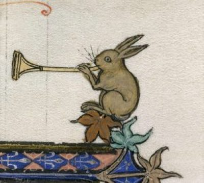 Rabbit playing horn, From Historiascholastica (The 'Ashridge Petrus Comestor')13th century