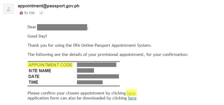passport DFA email confirmation image sample