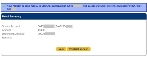 bdo send money to any bank accnt successful transfer