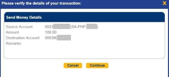 confirm bdo money transfer to any account