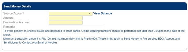 send money to unenrolled bdo account