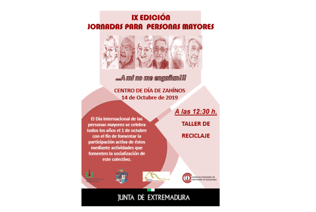 El 14 De Octubre Taller Sobre Reciclaje Para Personas Mayores En Zahinos Infoprovincia