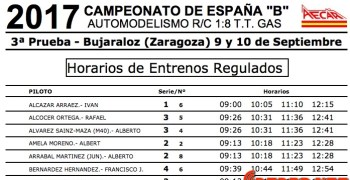 Campeonato de España B  en Bujaraloz - Horarios de entrenamientos y distribución de pilotos
