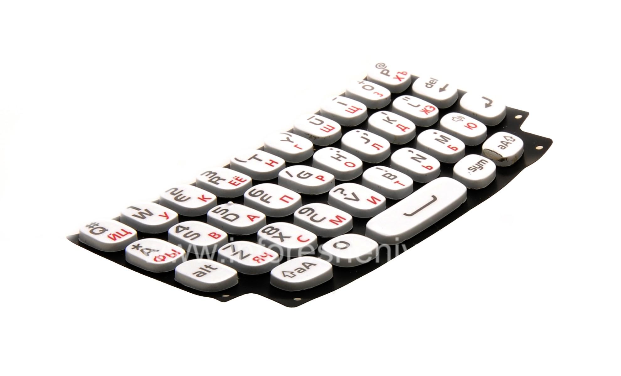 Blanca del teclado ruso para BlackBerry Curve 9360/9370