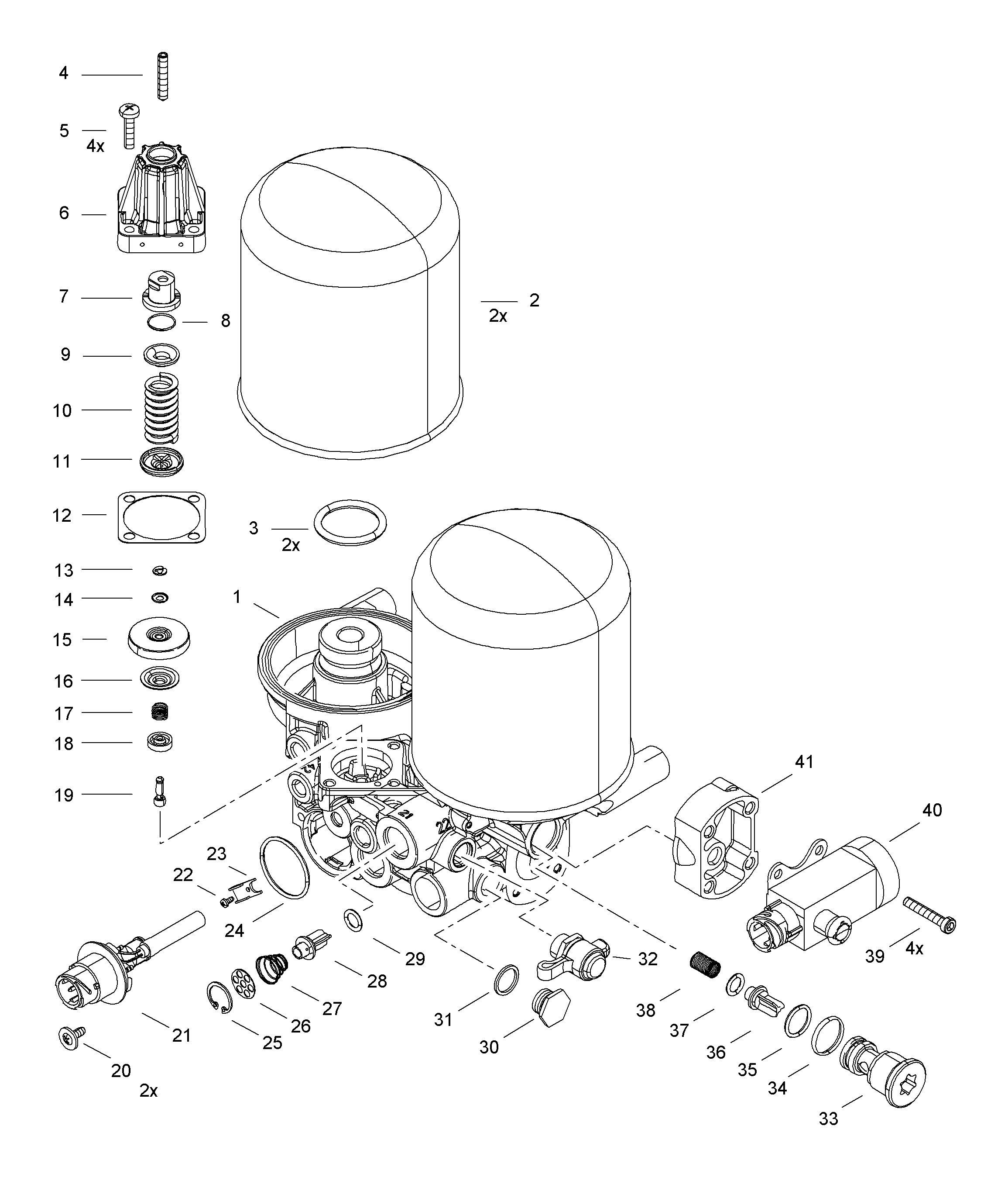 WABCO::Spare Parts List Air Dryer (Twin Cannister) 4324330620