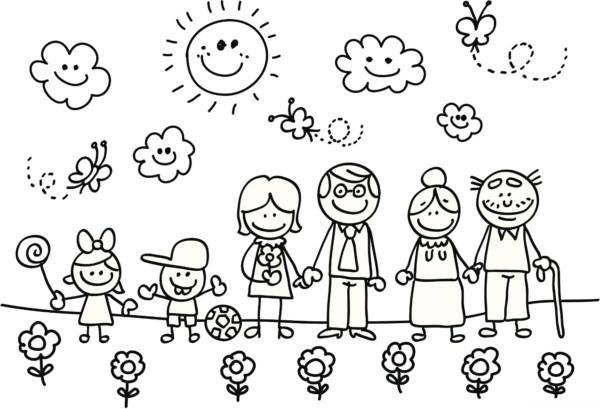 Dibujos infantiles del Día de la Familia para colorear
