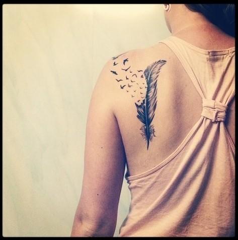 Tatuajes De Plumas Para Mujeres 67 Imágenes Información Imágenes