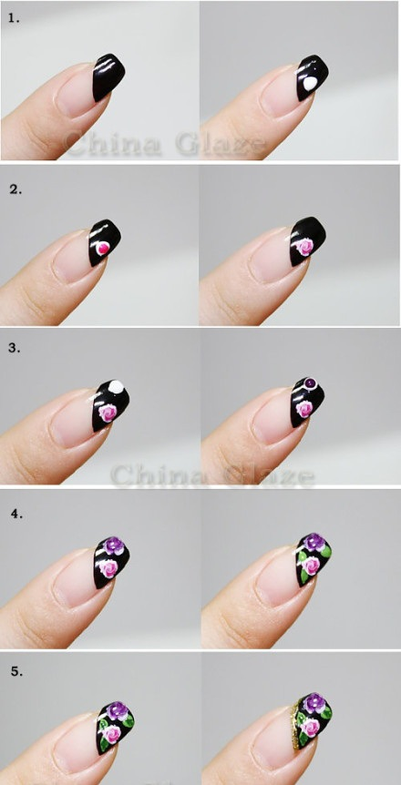 Como hacer dibujos en las uñas paso a paso
