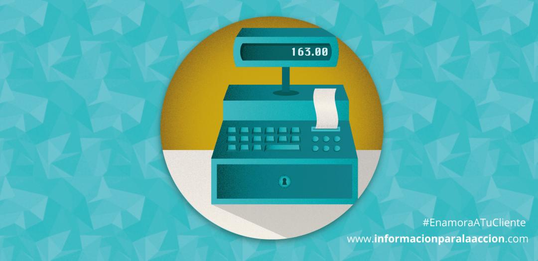 Caja registradora facturando