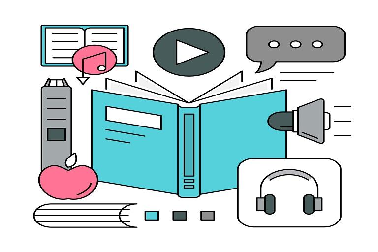 Libro, altavoz, auriculares, controles de dispositivo digital, manzana, ícono de video