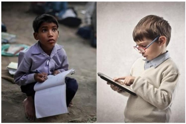 dos niños estudiando, uno con cuaderno y otro, con tableta