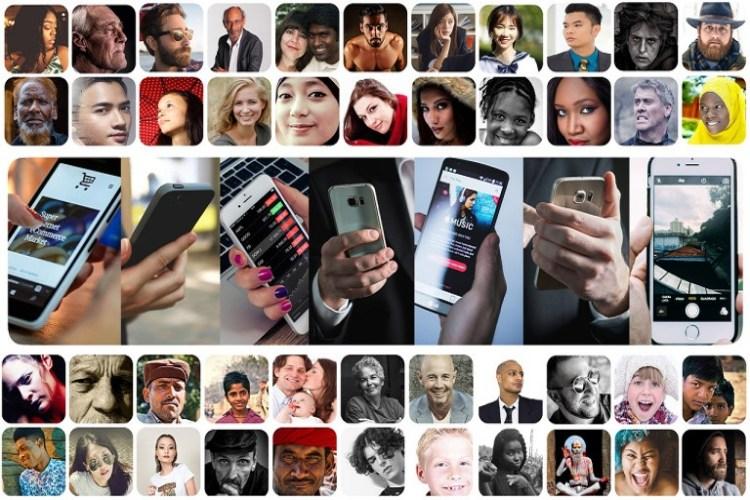 Imagen que muestra personas de todas las edades y géneros con dispositivos móviles