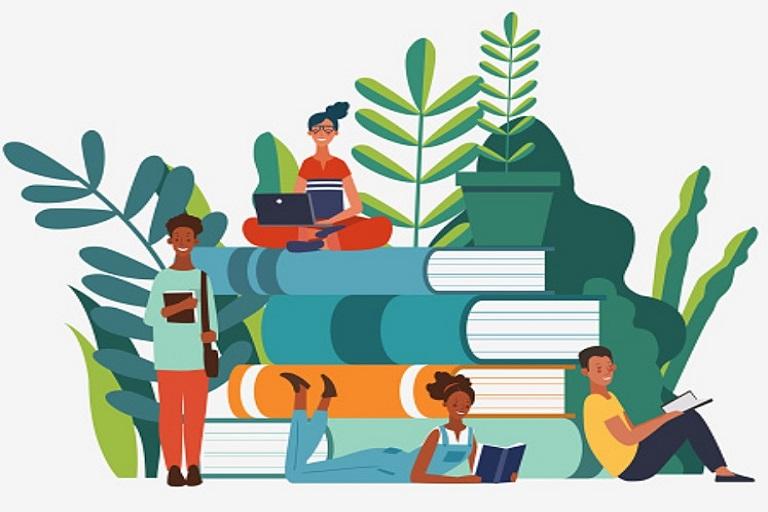 imagen que muestra libros, personas y plantas