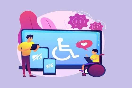 Imagen que muestra dispositivos y dos personas, una de ellas está en silla de ruedas