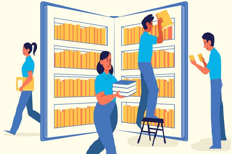 Bibliotecarios y bibliotecarias con libros y estanterías
