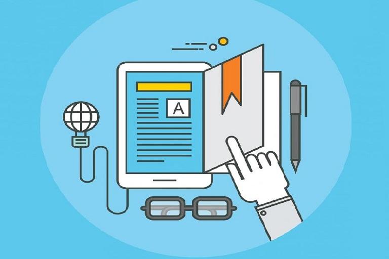 imagen que muestra un dispositivo de lectura digital, unos auriculares, un micrófono y una mano que pasa las páginas