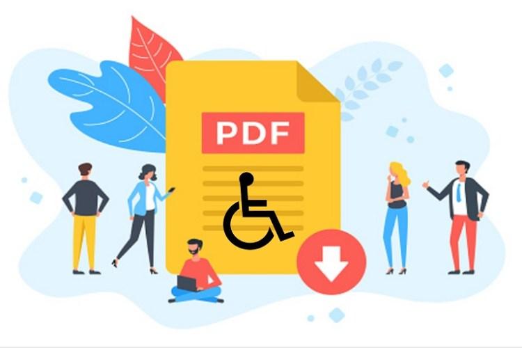 Documento en PDF, personas y símbolo de accesiblidad