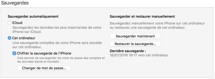 Sauvegarder maintenant iTunes